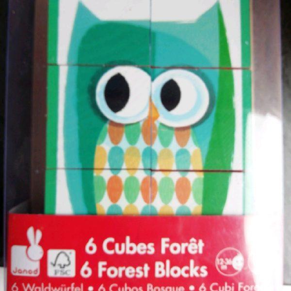 Barquette 6 cubes bois